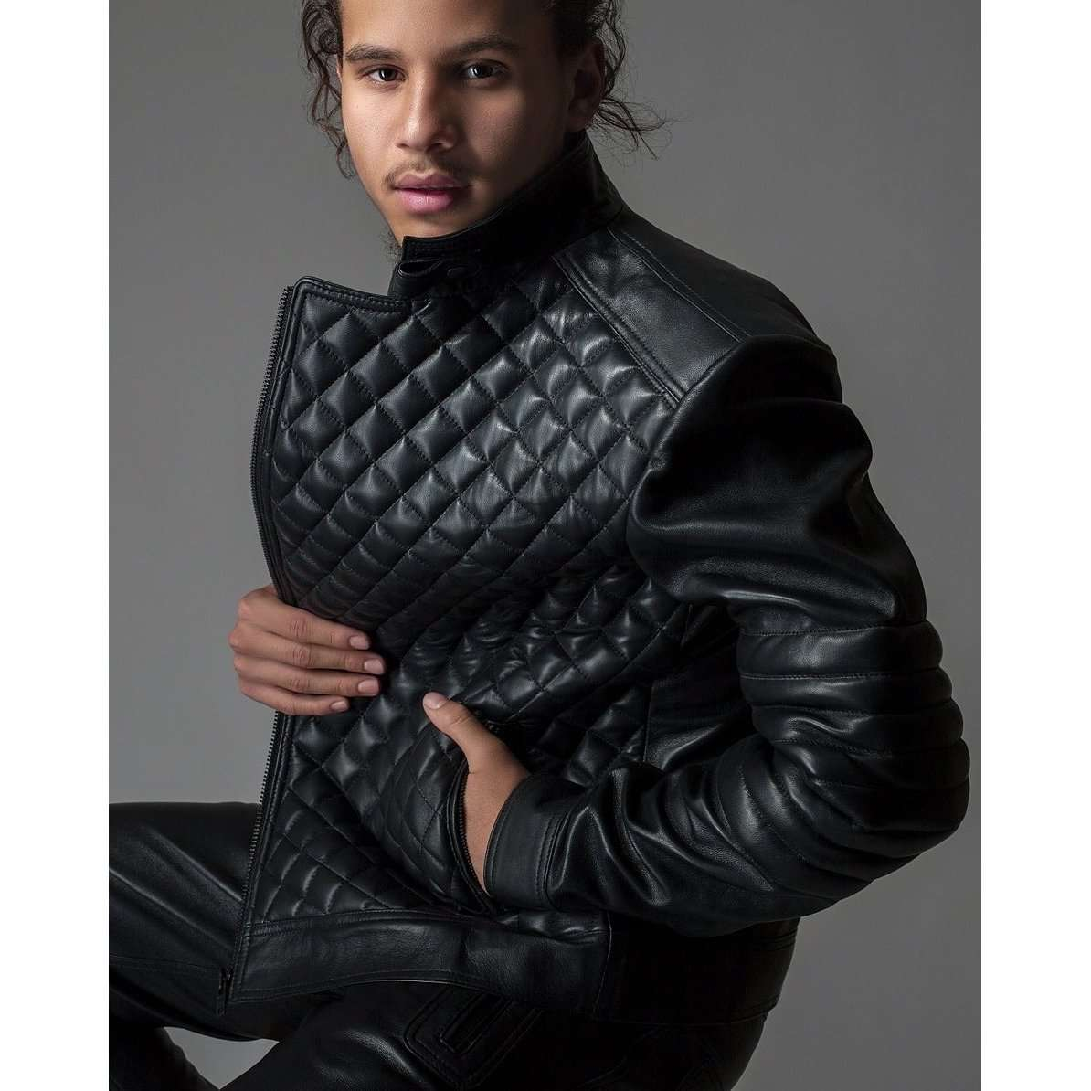 Rehbar Futuristic Quilted Leather Jacket Rafz The Hides