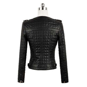DEOSAI - FAUX LEATHER QUILTED BIKER JACKET