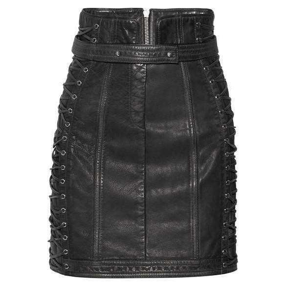 BADSHAHI - LACE UP TEXTURED MINI SKIRT FAUX