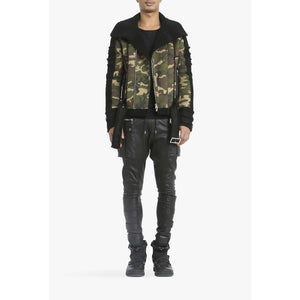 BIRYANI - CAMOUFLAGE PRINTED BIKER LEATHER JACKET