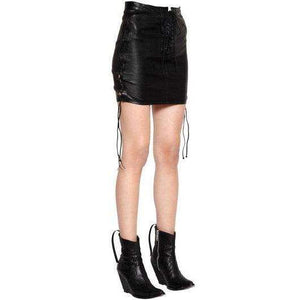 HAVELIAN - LACE UP LEATHER MINI SKIRT