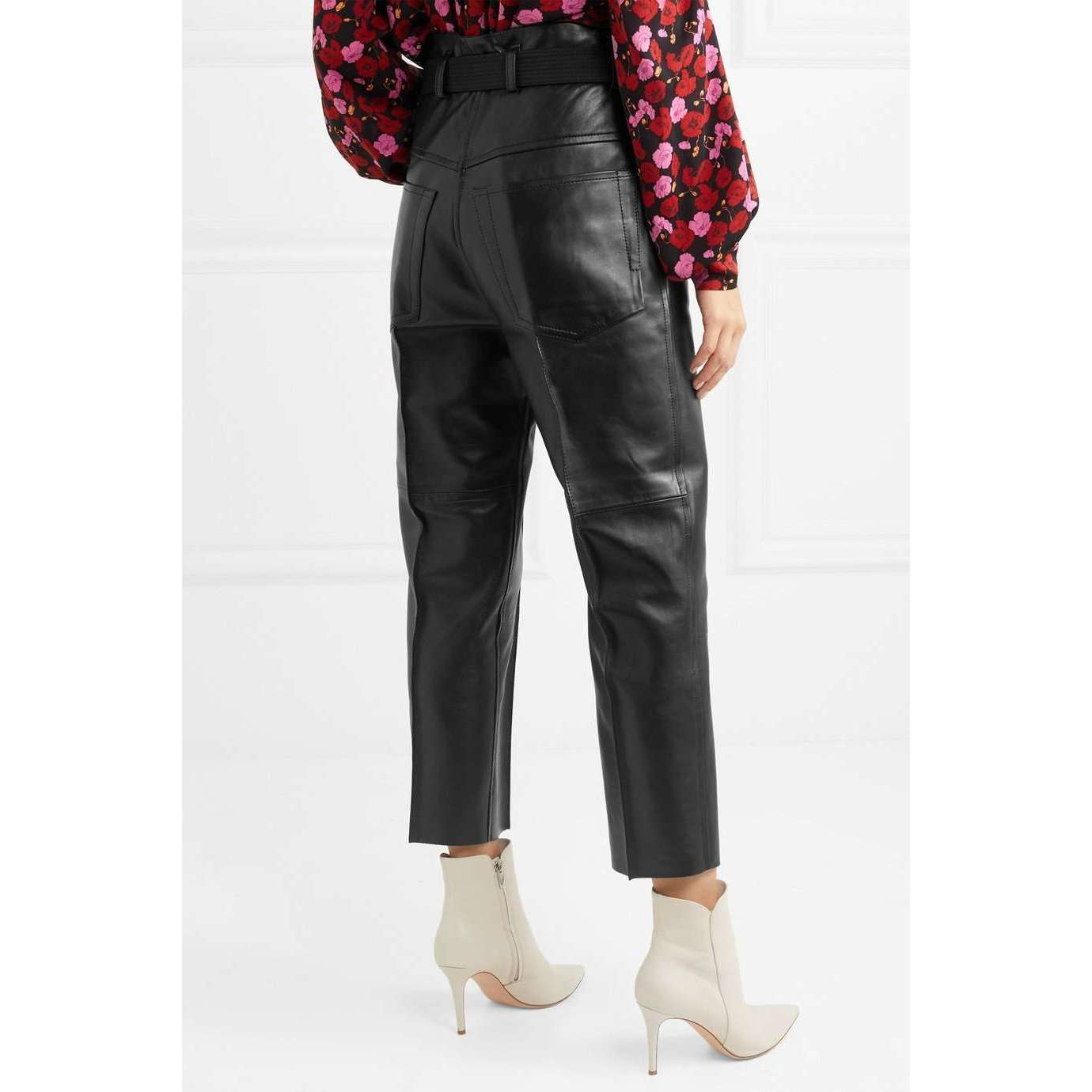 MUHATTA - CROPPED LEATHER WIDE LEG PANTS