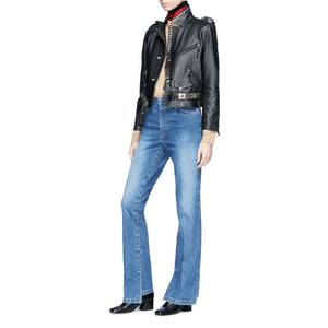 PINDI - STUDDED CROPPED SHEEPSKIN LEATHER BIKER JACKET