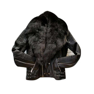 REHMAT - MEN'S BIKER FOX FUR JACKET