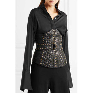 SAIDUSHARIF - STUDDED QUILTED LEATHER CORSET