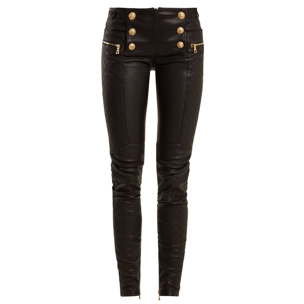 SHALIMAR - MILITARY BUTTON SKINNY LEG LEATHER BIKER TROUSERS.