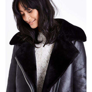 ZAFARWAL - BLACK FAUX FUR LINED AVIATOR JACKET
