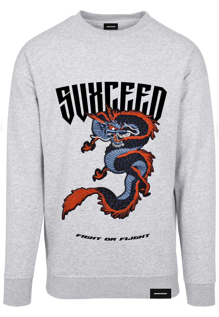 FEARLESS DRAGON Oversized Grey Sweat