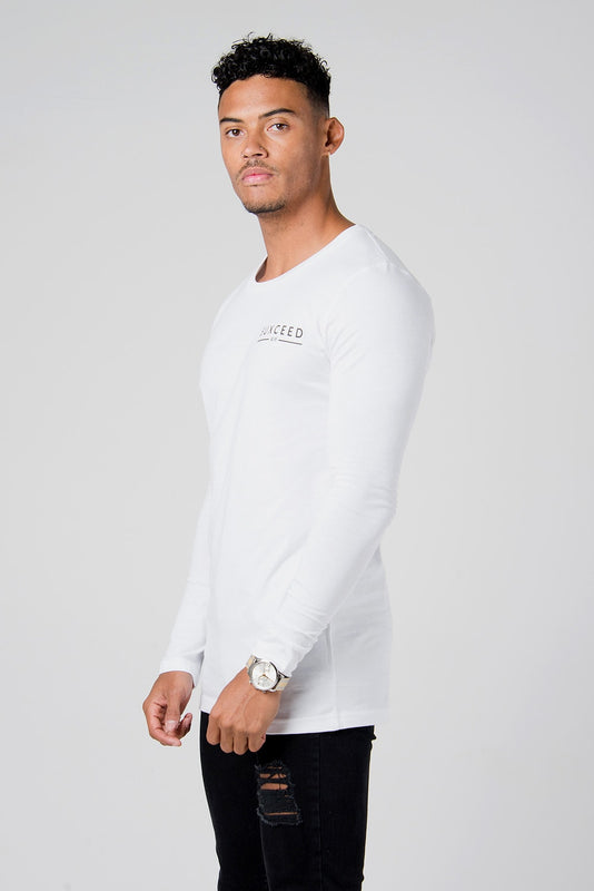 Suxceed Mens White Longsleeve Tshirt top