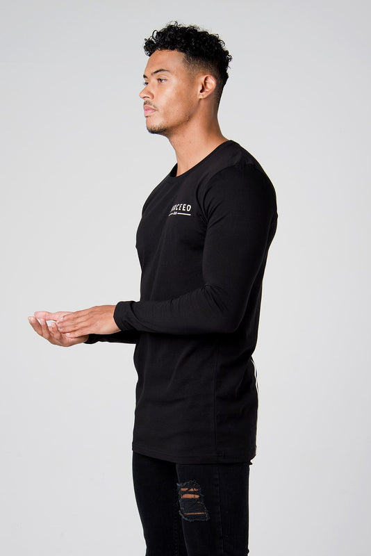 Suxceed Mens Black Longsleeve Tshirt top