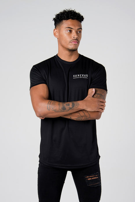 Suxceed Mens Black Team Eleven Football Sports Top Tshirt