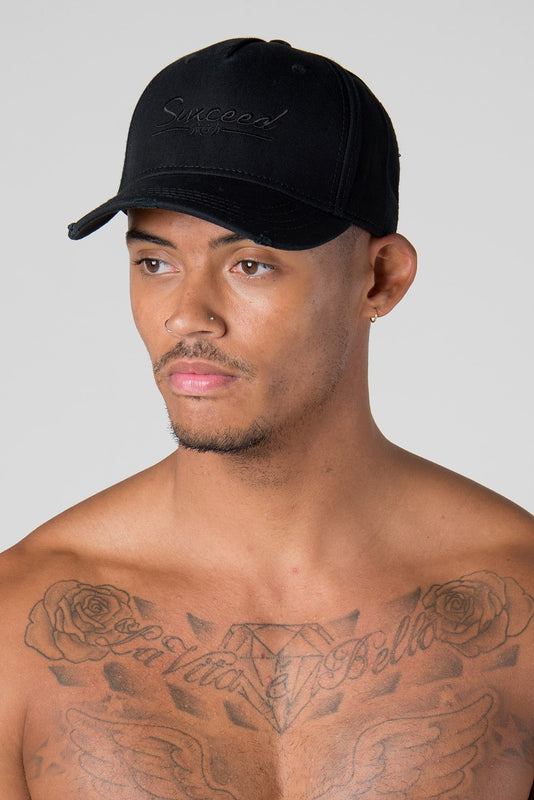 Suxceed Mens Black Snapback Hat Cap