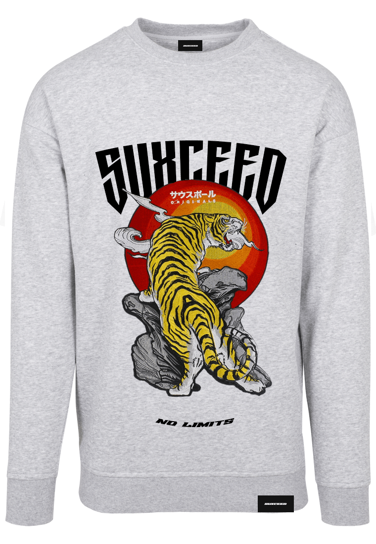 FEARLESS BENGAL TIGER Oversized Grey Sweat