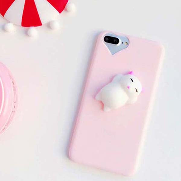 pretty nice a612f 0d2a3 Squishy Phone Case for iPhone 7 6 6s Plus Cover 3D Cute Stress Reliever Toy  Soft Silicon Squishi Squeeze Cat Kitty Housing Coque