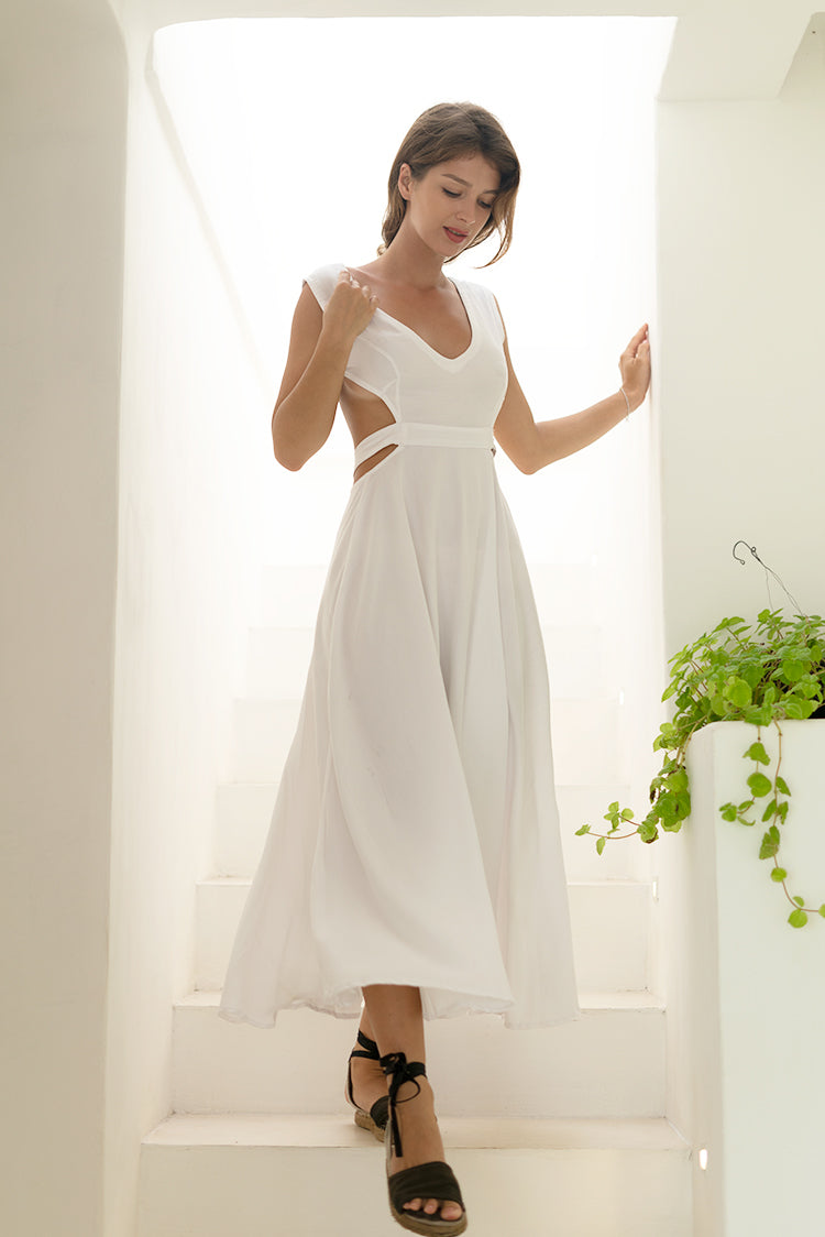 Destination Vintage Beauty White Cotton Dress
