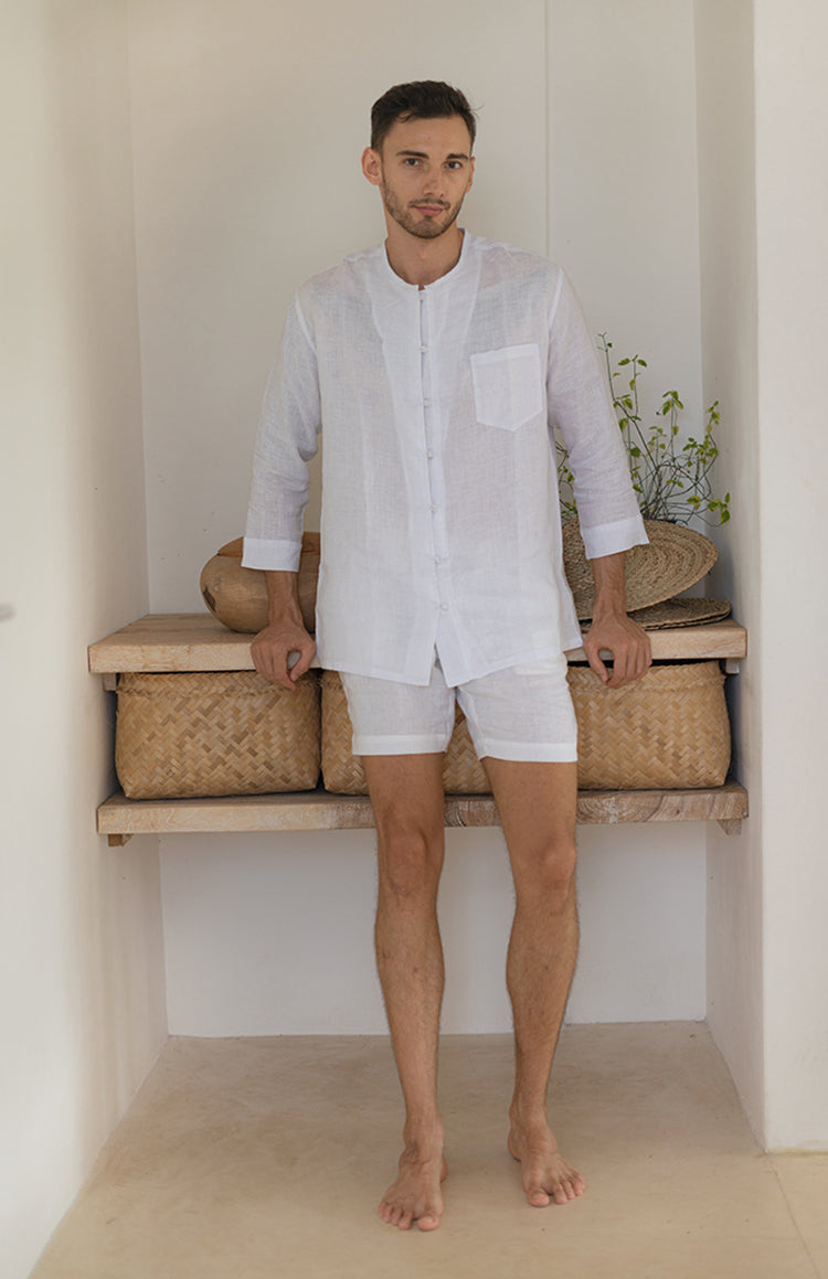 Destination White Linen Long Sleeve Shirt