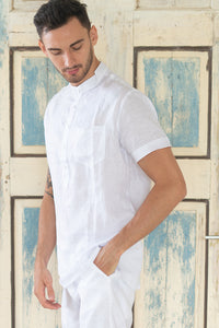 Destination White Linen Short Sleeve Shirt