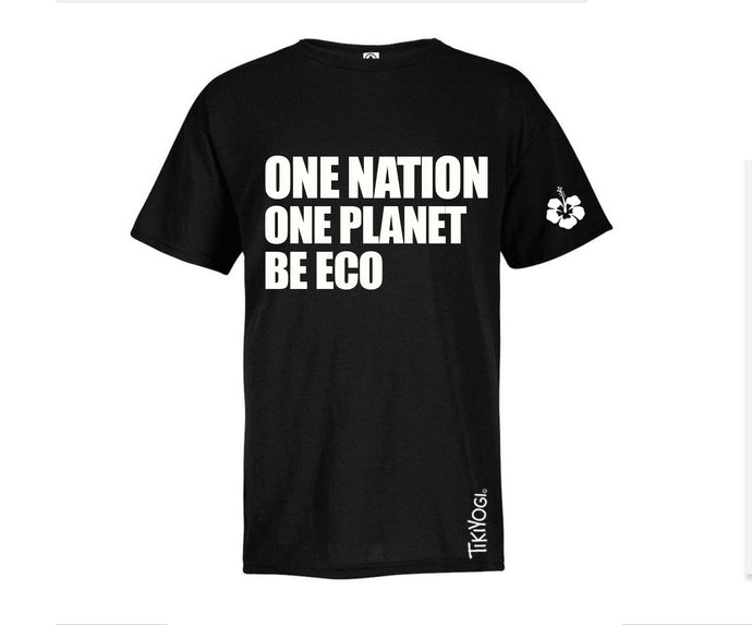 One Nation. One Planet. Be Eco. TikiYogi Black Men's Organic T