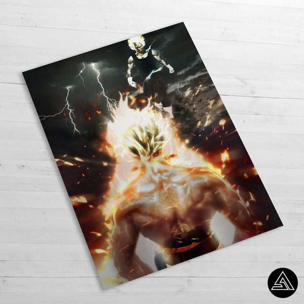 goku vs majin art poster