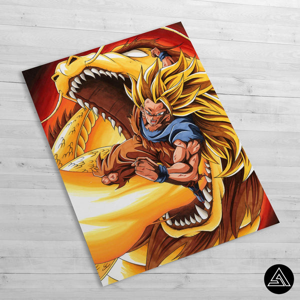 dbz dragon fist wall art poster