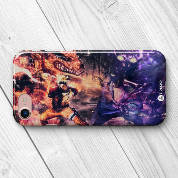 Sasuke vs Naruto fight phone case