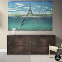 high quality surreal paris painting