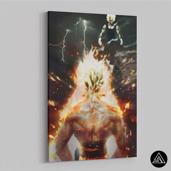 goku vs majin vegeta on canvas