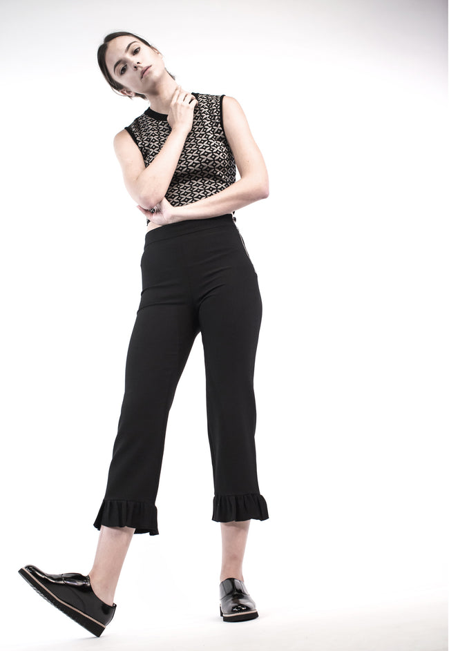 Black Prosecco Jacquard Cropped Top