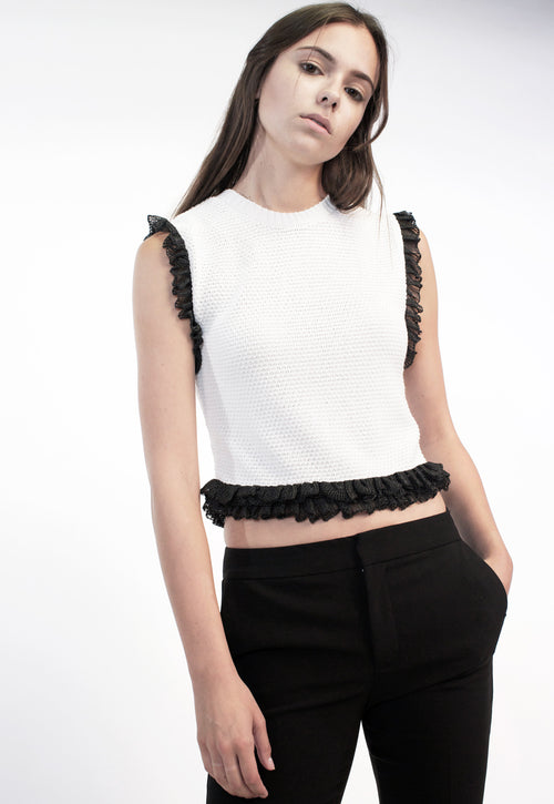 Sleeveless Frill Top