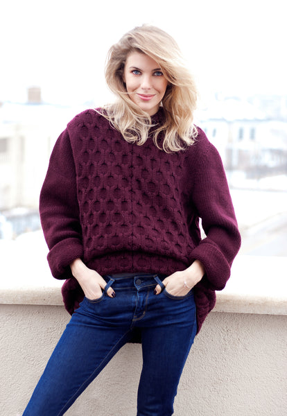 Canberra Chunky Cable Jumper  : Burgundy