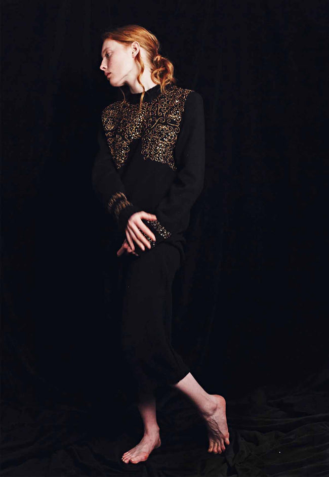 Patty Embroidered Sweater Dress Black