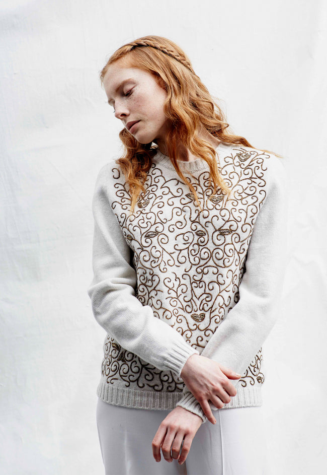 Embroidered Crew Neck Jumper White
