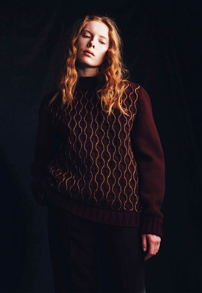 Chunky Embroidered Cable Jumper