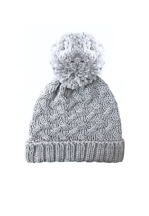 Unisex Merino Cable Knit Beanie - Grey