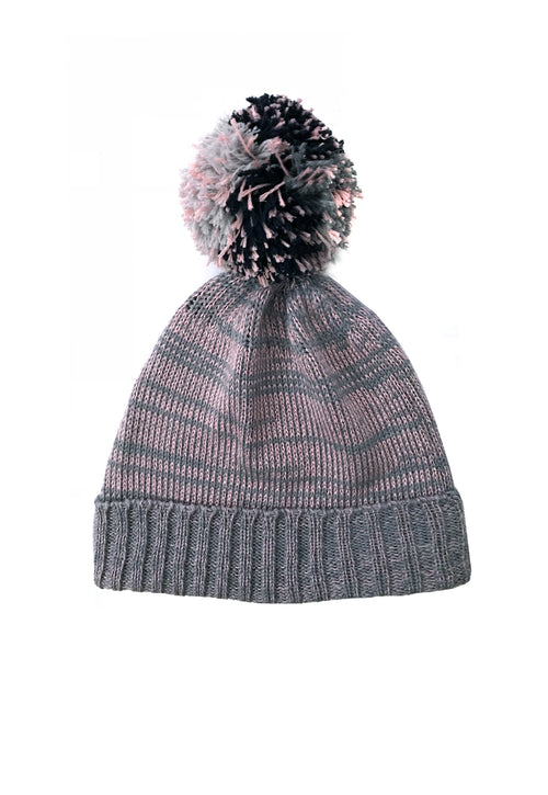 Merino Silk Knit Beanie - Grey/Pink