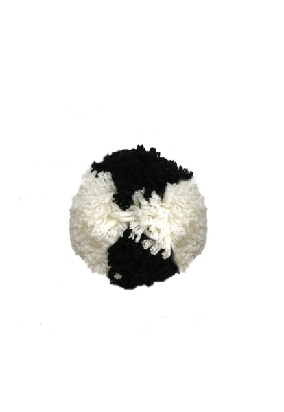 Black and White Block Wool Small Pom Pom