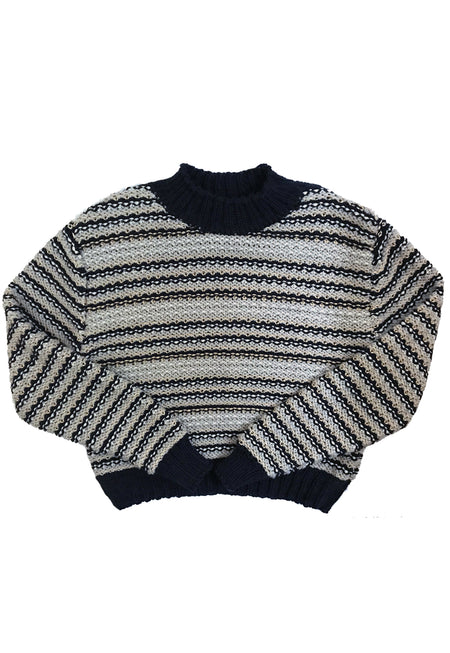 Oversized Striped Cotton Cables & Lace Jumper