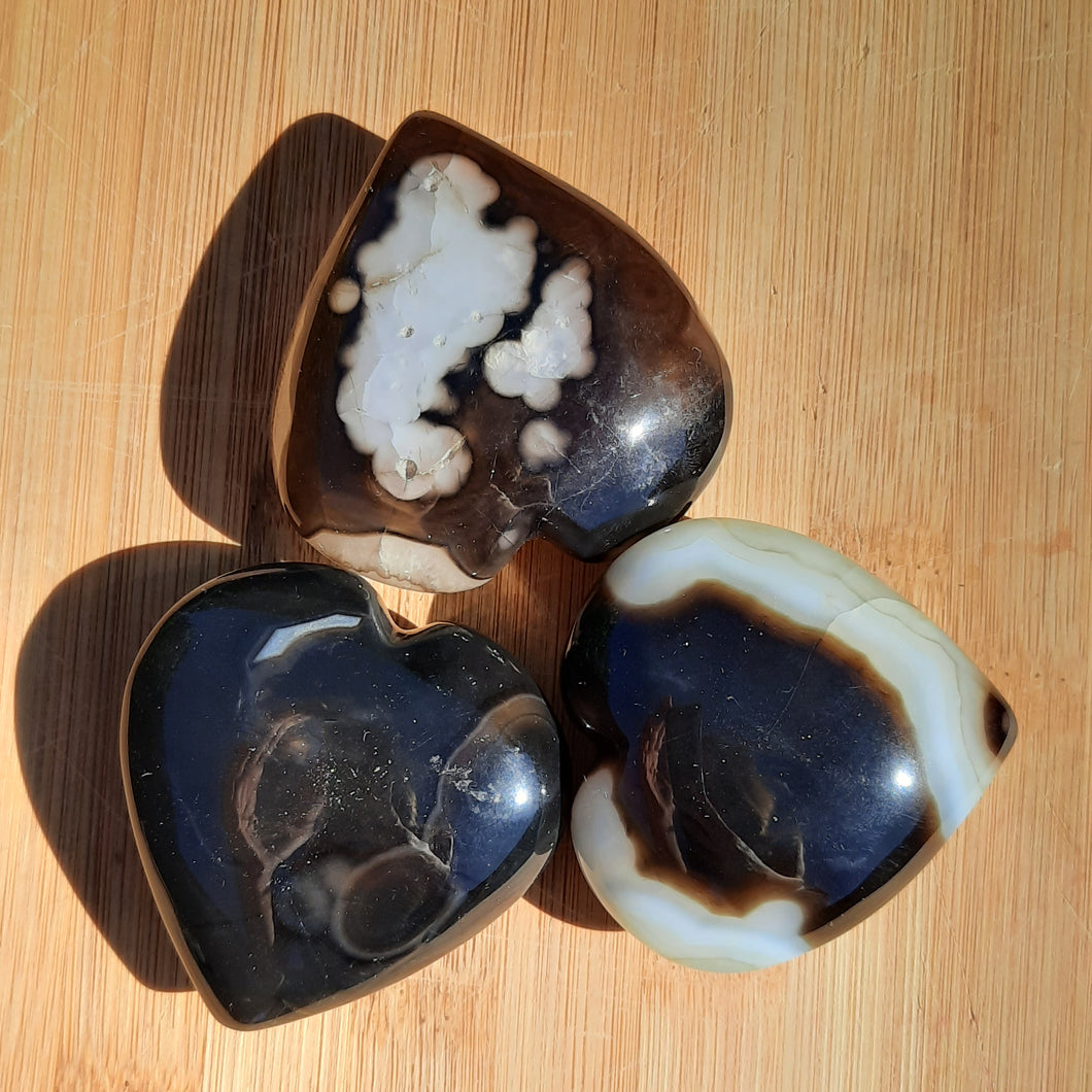 Solomon Agate Gemstone Hearts ~ Small