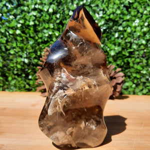 A-Grade Smokey Citrine Quartz Flame ~ Large With Inclusions & Rainbows - The Crystal Society Pty Ltd