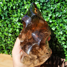 Load image into Gallery viewer, A-Grade Smokey Citrine Quartz Flame ~ Large With Inclusions & Rainbows - The Crystal Society Pty Ltd