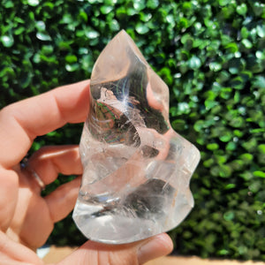 Clear Quartz Flame ~ Small With Rainbows