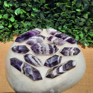Banded Amethyst Double Terminated Points ~ Lean