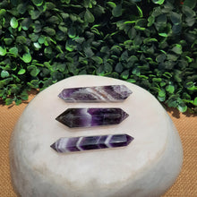 Load image into Gallery viewer, Banded Amethyst Double Terminated Points ~ Lean