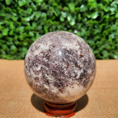 Lepidolite On White Quartz Sphere