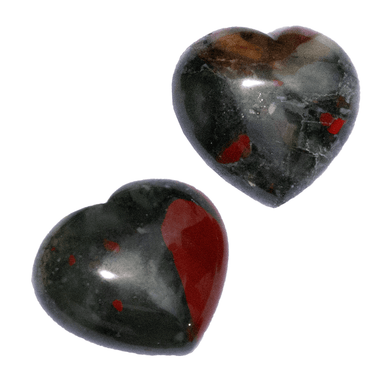 African Blood Stone Hearts - The Crystal Society Pty Ltd