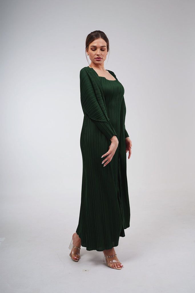 Emerald Green (00) | Pleated Dress