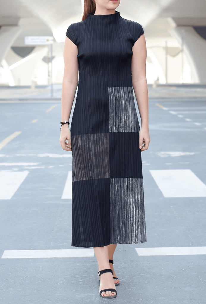 Divine Metallic Print Sleeveless Dress - Alita Pleat