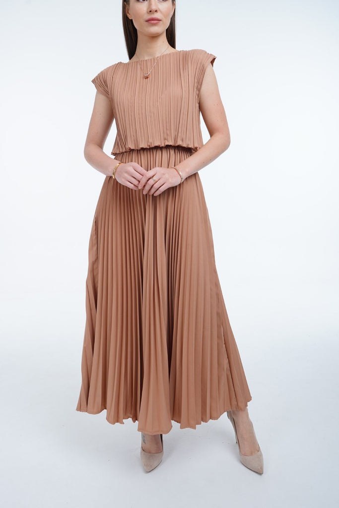 Beige (05) | Pleated Dress