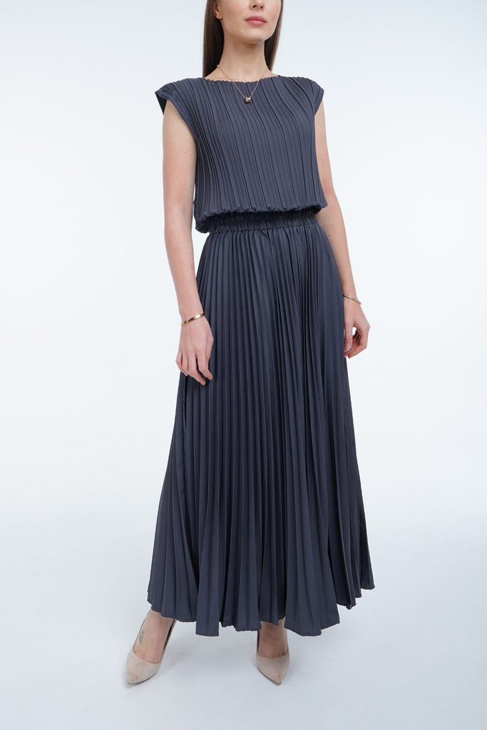 Blue Steel (00) | Pleated Dress