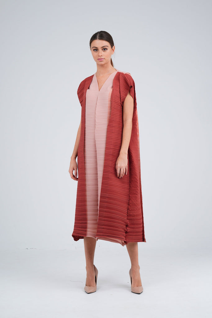 Peach (04) with Brick (00) | Pleated Dress